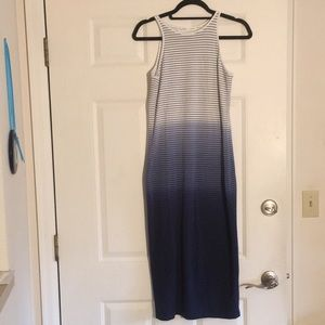 Athleta Long Maxi Fitted Navy Lined Dress Sz Small